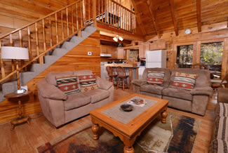 Tennessee Vacation Two Bedroom Cabin Rental Livingroom Area