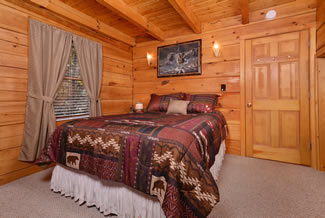 Vacation Cabin Rental Bedroom Area