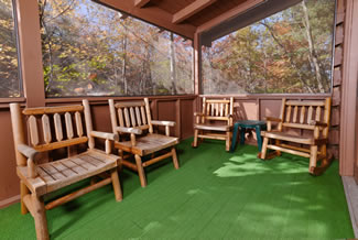 Tennessee Two Bedroom Vacation Cabin Rental Screened in Porch Area