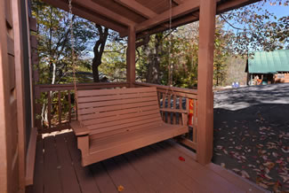Gatlinburg Vacation Cabin Rental Outdoor Porch Area Swing