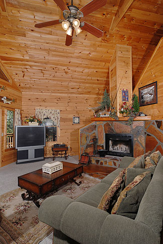 Fireside Chalets offers you cabins with fireplaces, big screen TV's and large comfortable living areas