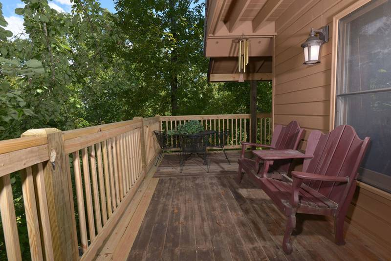 Deck Area on this Pigeon Forge Two Bedroom Cabin Rental