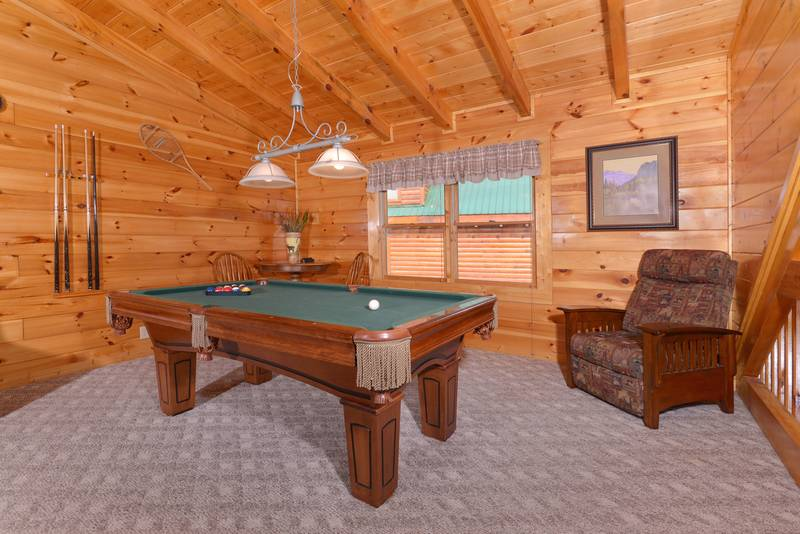 Pigeon Forge Cabin Rental with a Pool Table in the Loft Area