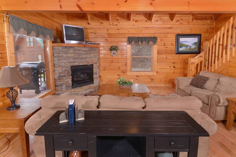 Lofted Livingroom Area in this Pigeon Forge Honeymoon Cabin Rental