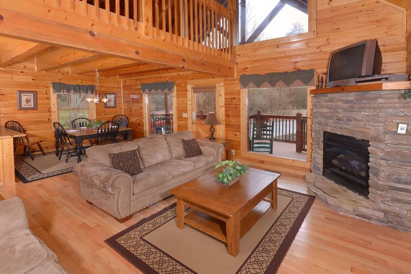 Lofted Pigeon Forge Cabin Rental Living Room Area