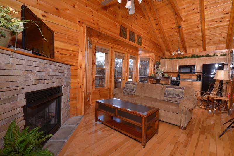 Tennessee Vacation One Bedroom Cabin Rental that features a sleeper sofa for extra sleeping