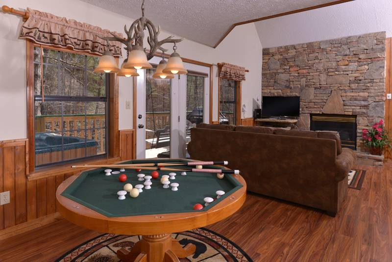 Marvelous ... Two Bedroom Cabin Rental Bumper Pool Table